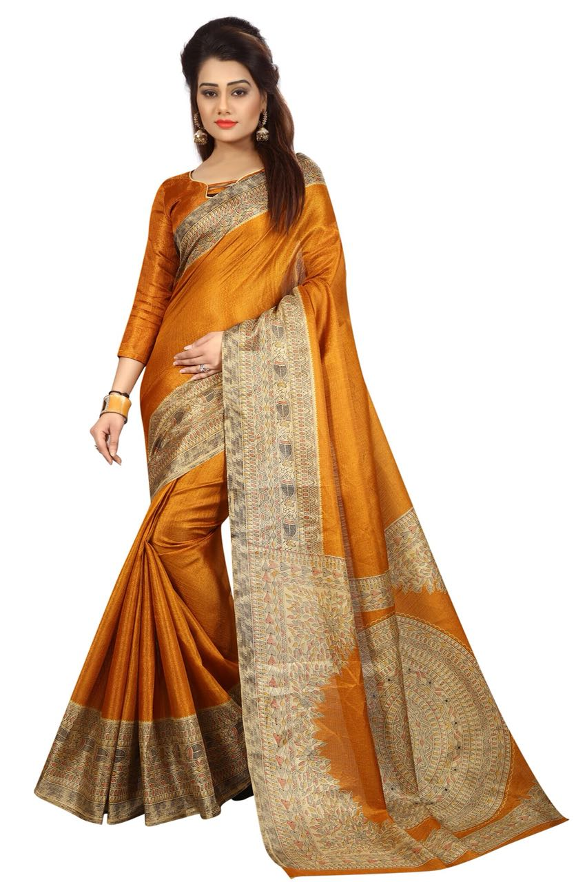 Kalamkari Mustard Colour Saree K017