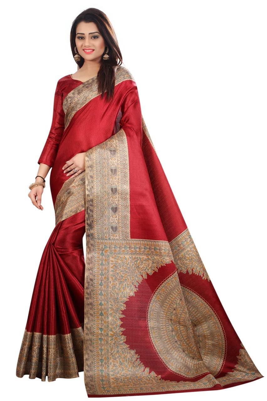 Kalamkari Maroon Colour Saree K016