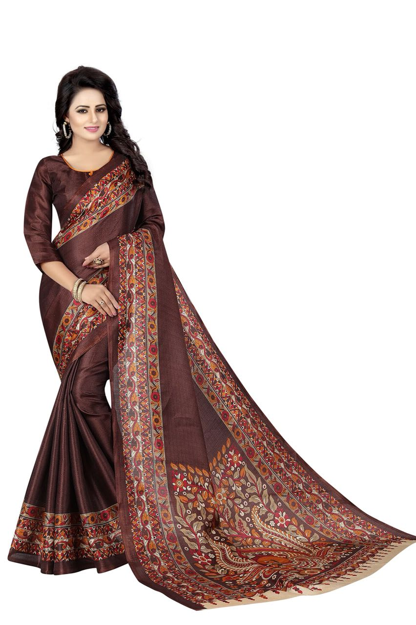 Kalamkari 3 Coffee Colour Saree K024