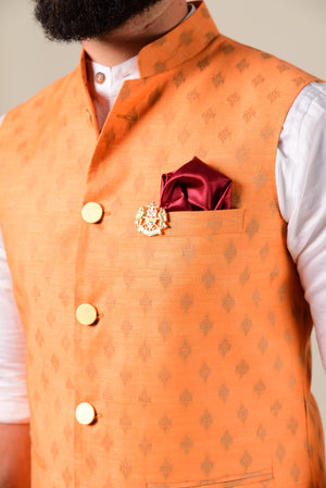 Carrot Color Royal Silk Half Jodhpuri Jacket