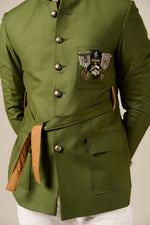 Pear Green Waist Belt Royal Bandhgala Blazer