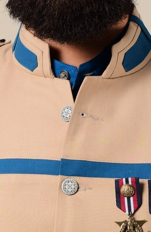 Fawn & Cerulean Color Bandhgala Jacket