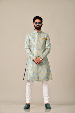 Royal Sea Beet Color Designer Brocade Achkan