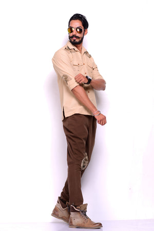Light Khakhi Hunting Shirt with camo patch