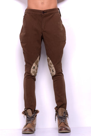 Coffee Brown Breeches with Camouflage Patch