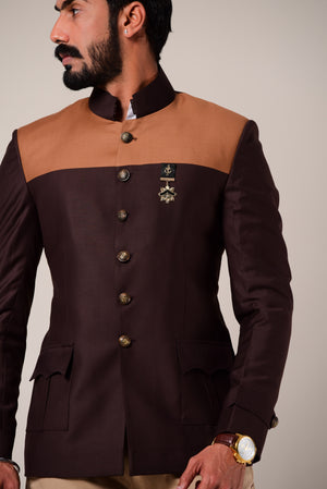 Umber Brown Dual Color Bandhgala Blazer