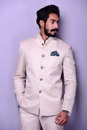 Light Fawn color Designer Bandhgala Jodhpuri Suit