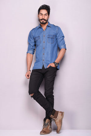 Light Blue Denim Hunting Shirt