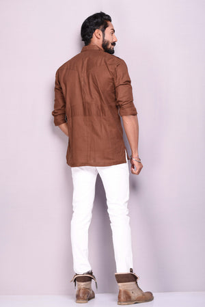 Twill Coffee Brown Hunting Shirt