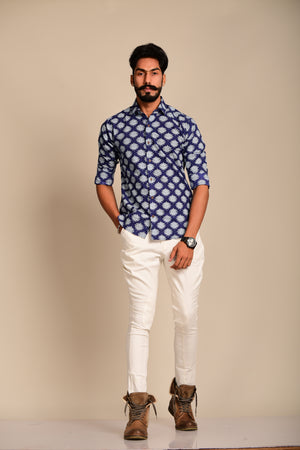 Blue Colour Sanganeri Shirt with White Floral Prints