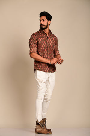Caramel Brown Flower Printed Shirt