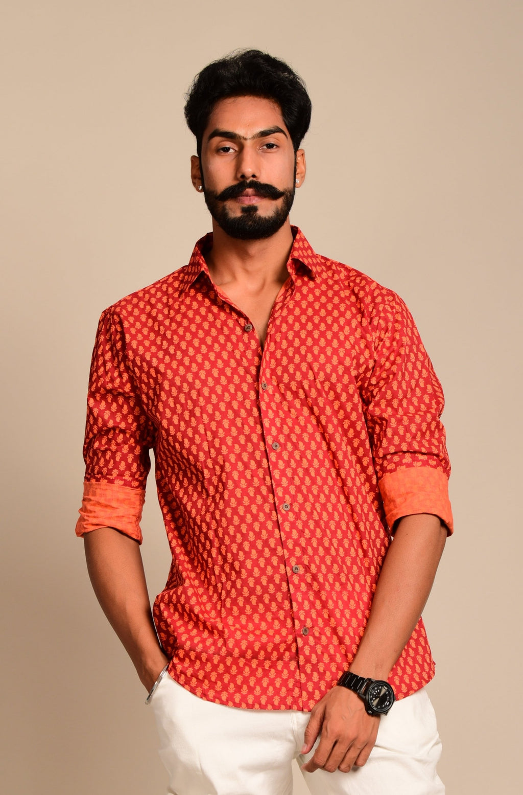 Red Booti Printed Sanganeri Shirt