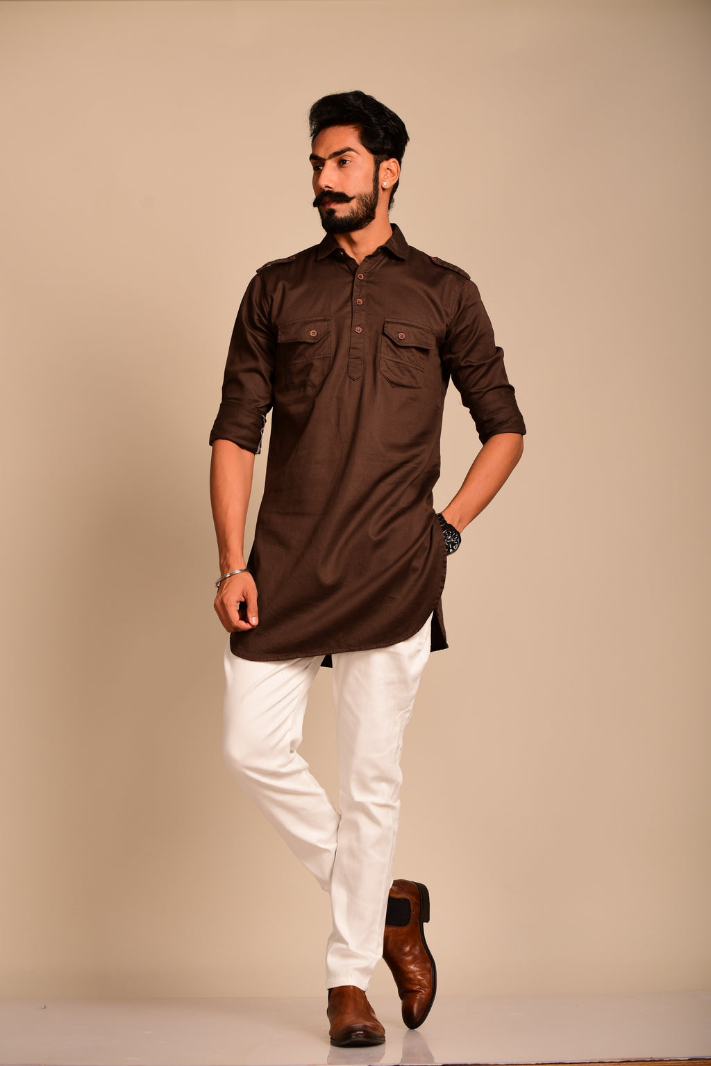 Coffee Brown Stylish Kurta Pajama