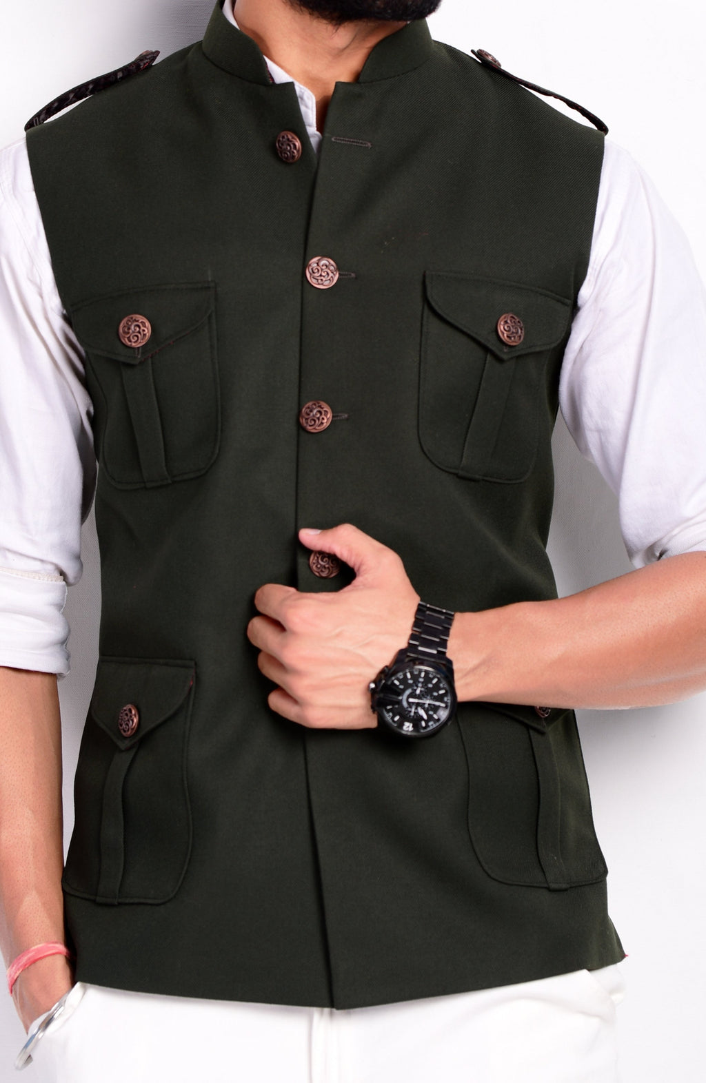 Dark Green Colour Semi Hunting Jacket