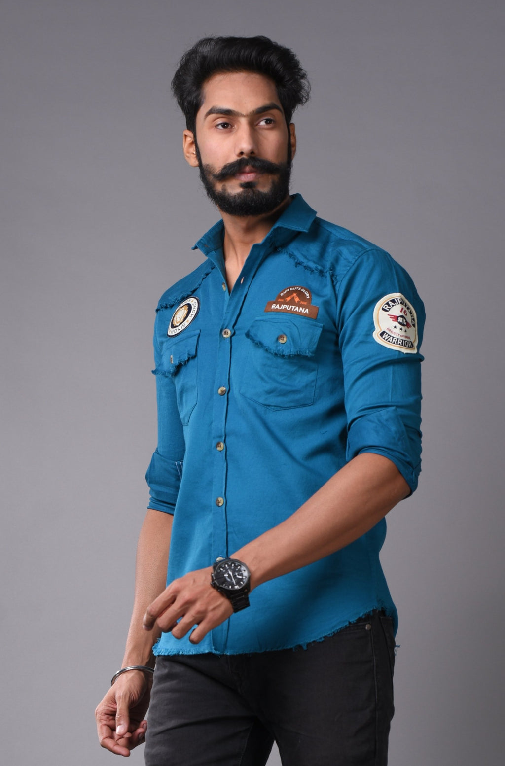 Aegon Blue Ultra-Comfort Royal Look Premium Rajputana Shirt