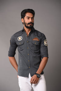 Uber Cool Casual Look Premium Grey Rajputana Shirt
