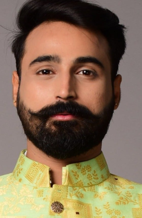 Lime Green Colour With Golden Work Kimkhab Achkan