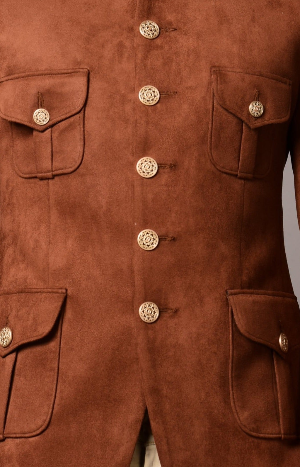 Camel Colour Suede Leather Hunting Bandhgala