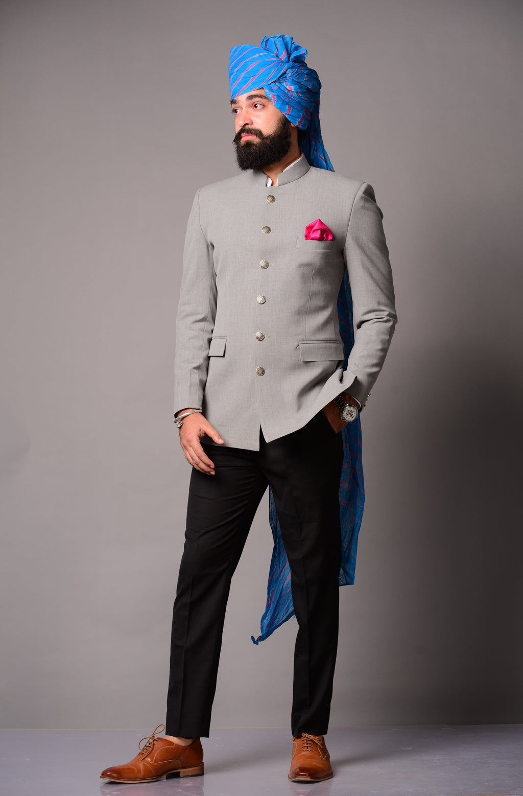 Grey Bandhgala Blazer with Black Trouser