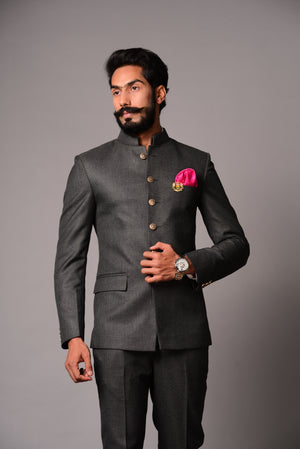 Charcoal Grey  Bandhgala Jodhpuri Suit