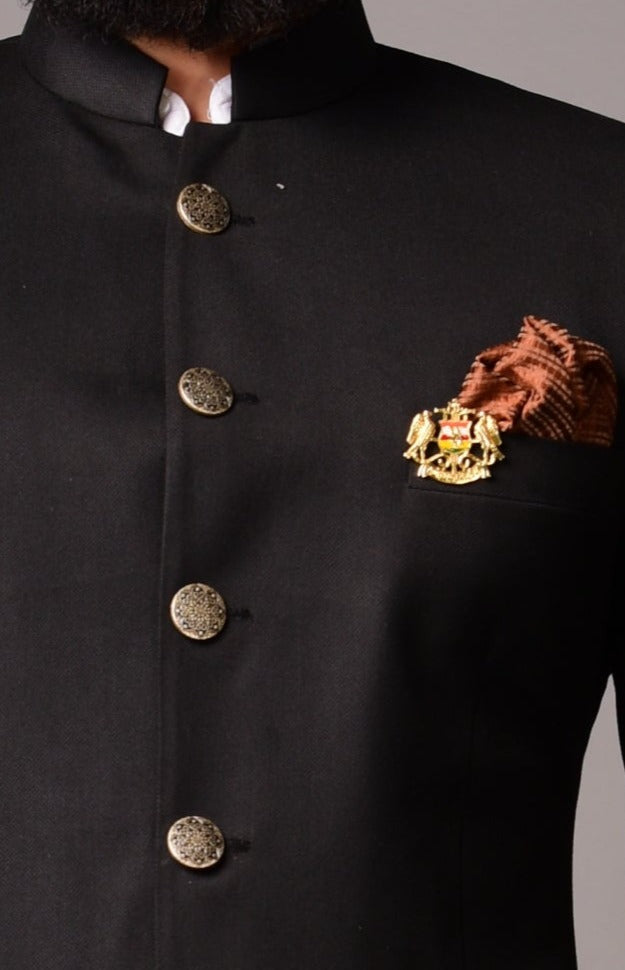 Black Bandhgala Jodhpuri Blazer with Grey Trouser