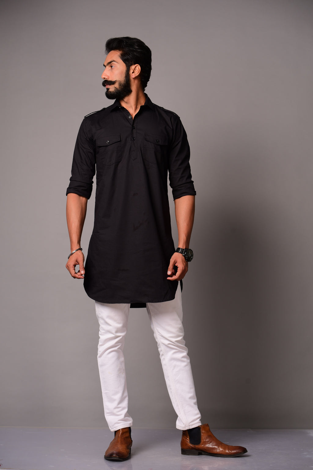 Stretchable Black Colour Hunting Kurta Pajama