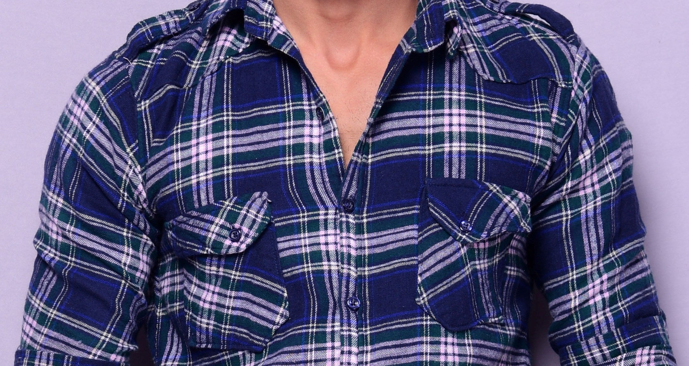 Green & Dark Blue Checks Semi-Hunting Shirt