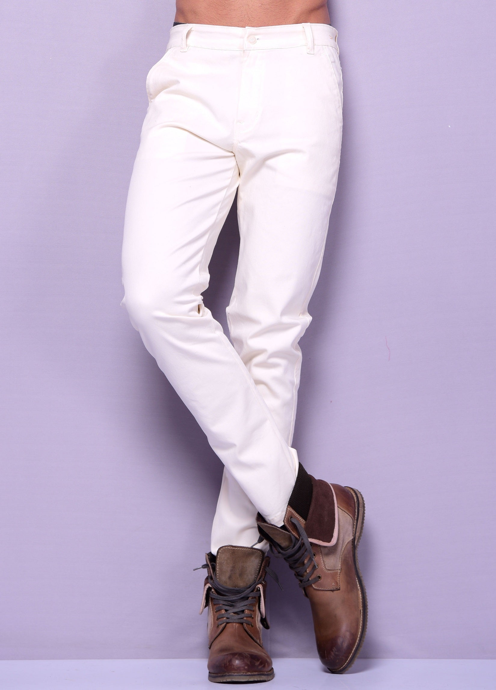 Cream Color Casual Trouser