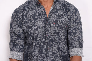 Dark Blue Shirt with All Over Print