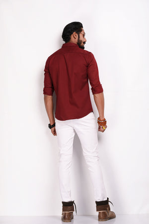 Men's Solid Maroon Casual Stripes Shirt