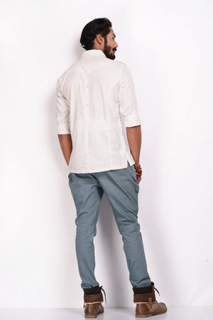 Pure Cotton White Printed Hunting Shirt