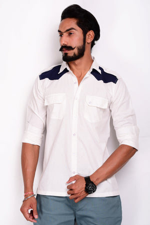 White Hunting Shirt with Blue Patchwork