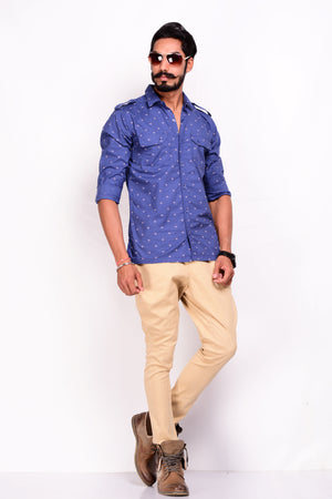 Printed Cotton Sapphire Blue Men's Hunting Shirt