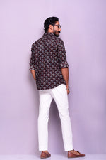 Dark Brown Colour Sanganeri Printed Shirt
