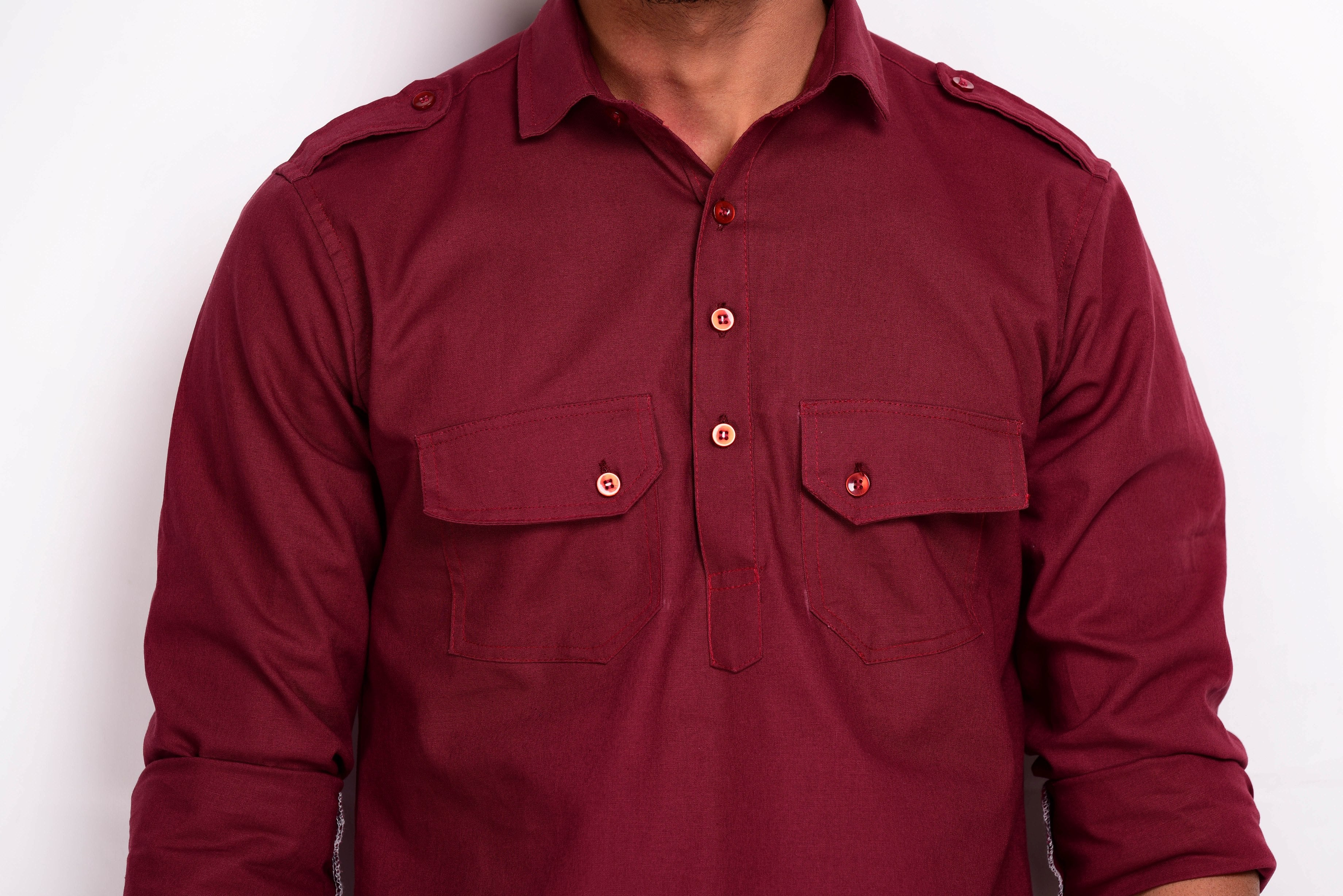 Maroon Colour Hunting Kurta Pajama