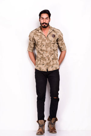 Army Camouflage Print Semi Hunting Shirt with Flap Pockets