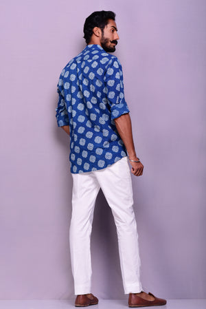 Indigo Colour Sanganeri Printed Shirt