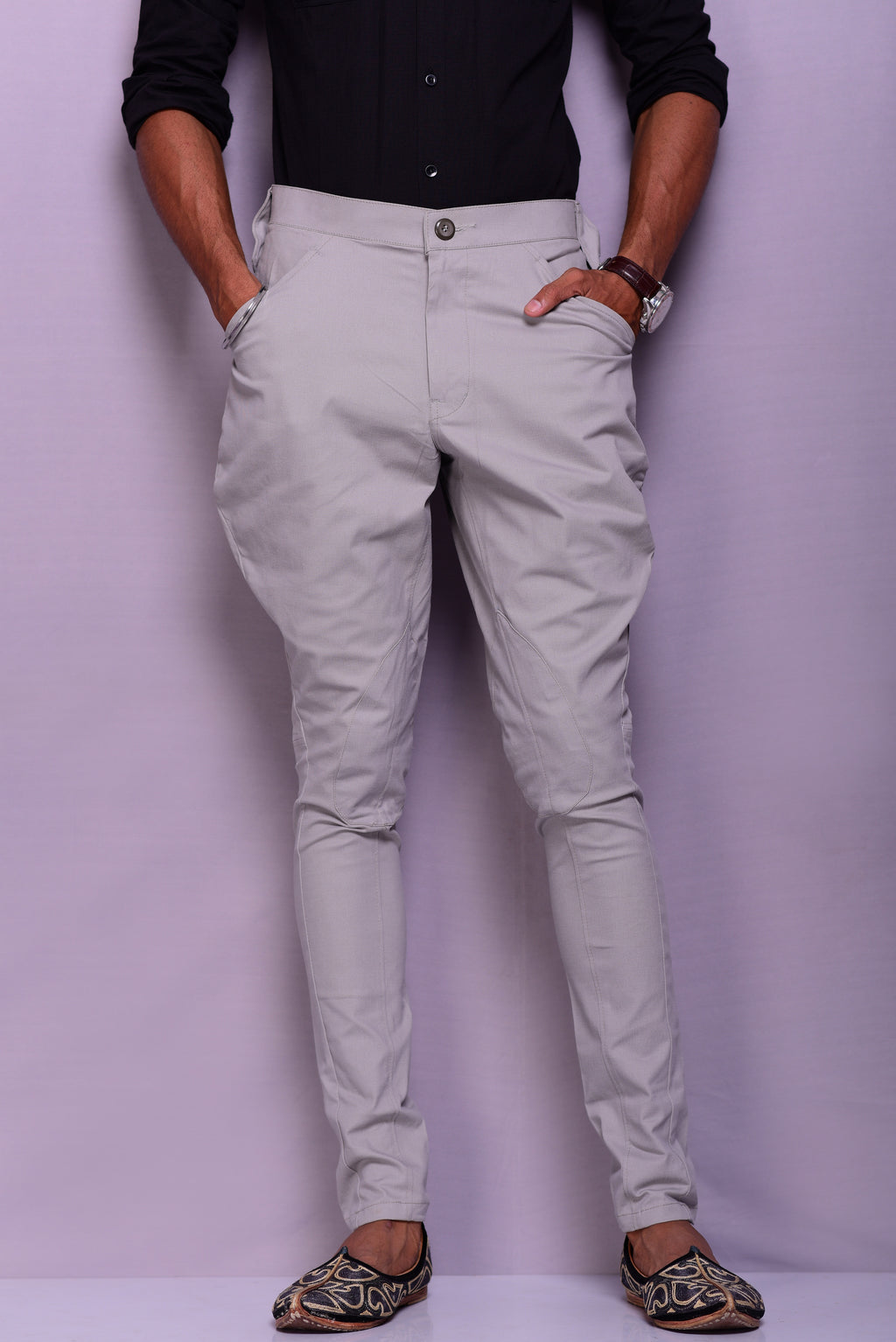 Light Grey Colour Stretchable Breeches