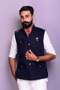 Navy Blue Tweed Semi Hunting Jacket