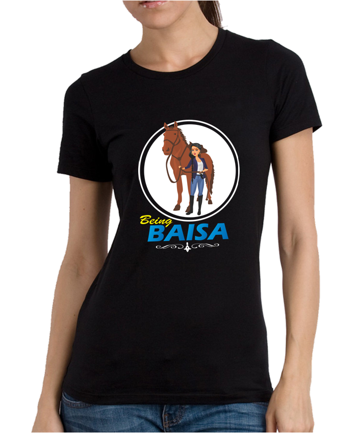 Being Baisa Black Round Neck Women's T-shirt