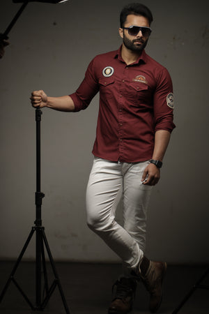 Maroon Color Pure Semi-Hunting Style Rajputana Shirt