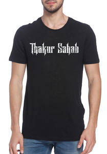 Thakur Sahab Grey Camo Printed T-shirt Black
