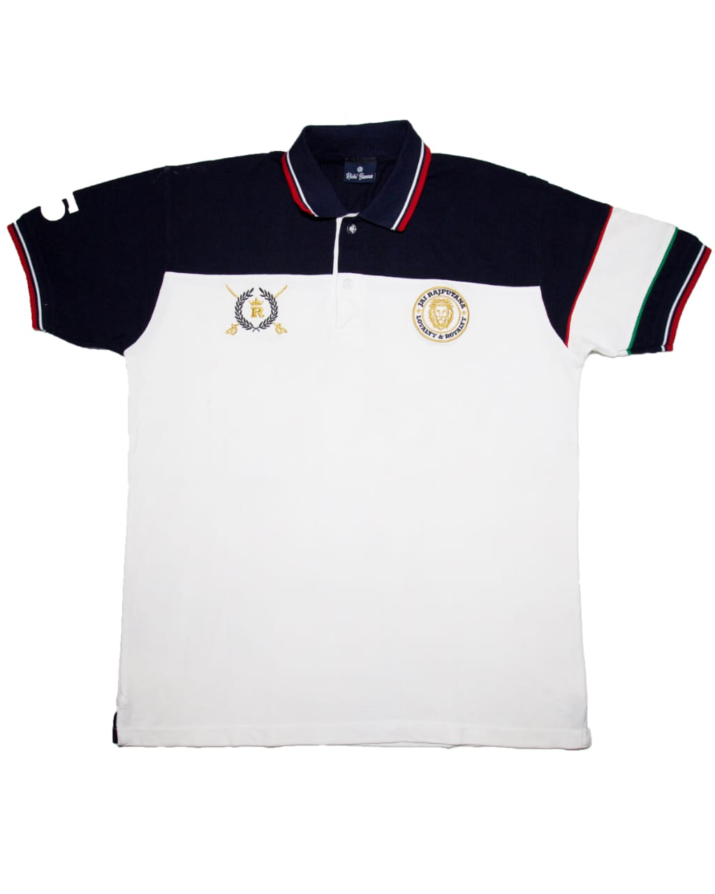 Navy and White Rajputana Polo T-Shirt