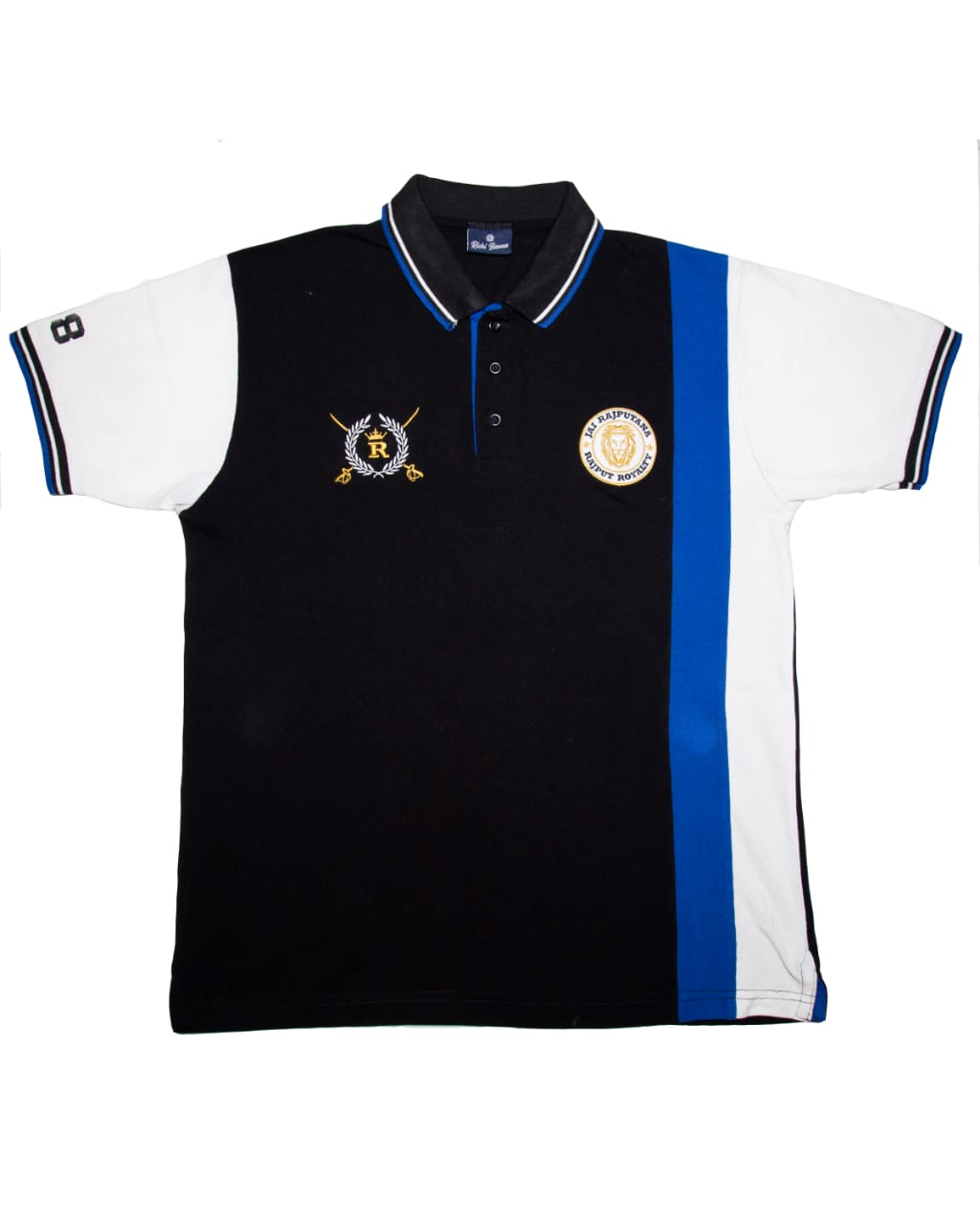 Blue and White Rajputana with Stripes Polo T-Shirt