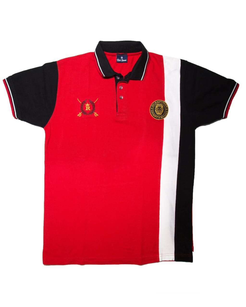 Red and Black Rajputana Polo T-Shirt with White Stripes