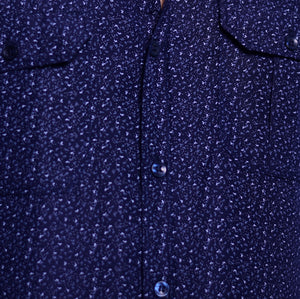 Blue Printed Semi-Hunting Shirt