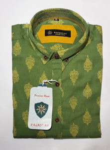 Bottle Green Booti Printed Sanganeri Shirt