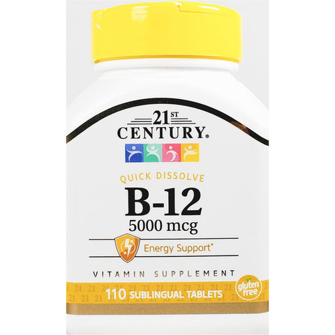 21st Century B12, 5000 mcg (Quick Dissolve) 110 Sublingual Tablets
