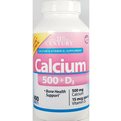 21st Century Calcium, 500 mg plus D3 (Compare to Os-Cal Extra D3) 400 Tablets