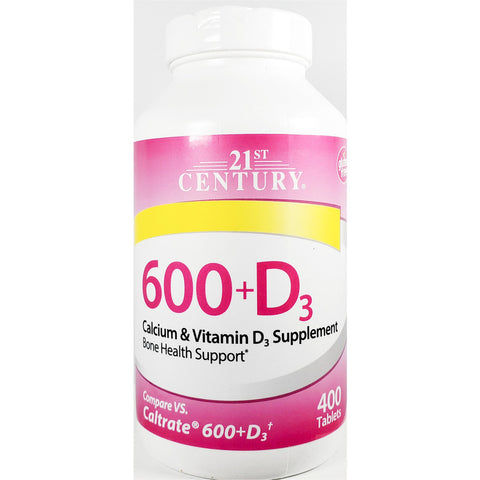21st Century Calcium 600 mg, plus D3 400 Tablets